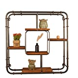 DGF Wall-mounted storage rack, living room restaurant square grid fence hanging wall racks - iron art coffee shop decoration display cabinets (two sizes optional) ( Size : 616115cm )