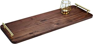 MAGIGO 28 x 10 Inches Extra Long Large Walnut Wood Ottoman Plank Tray with Pure Copper Handles, Serve Tea, Coffee or Breakfast in Bed, Classic Wooden Decorative Serving Tray