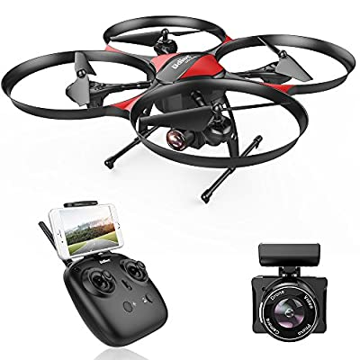 WI-FI FPV version DROCON U818PLUS Quadcopter Drone with HD Camera, 15-Mins Flight Time, Altitude Hold, Headless Mode, One-Button Take off and Landing, TF Card 4GB Included, Designed for Beginners