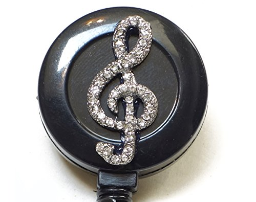 Bling Rhinestone Retractable Badge Reel/ ID Badge Holder / Brooch / Pendant / Reels (Music Note Musical Symbol G clef)