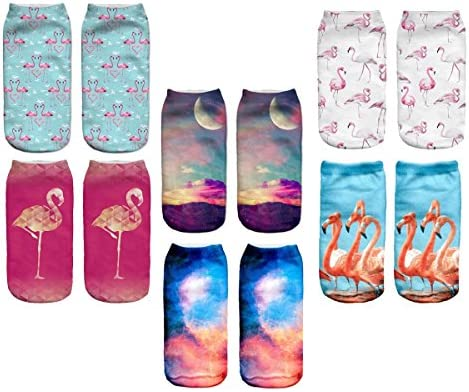 Womens Cute 3D Printed Flamingo Ankle Socks