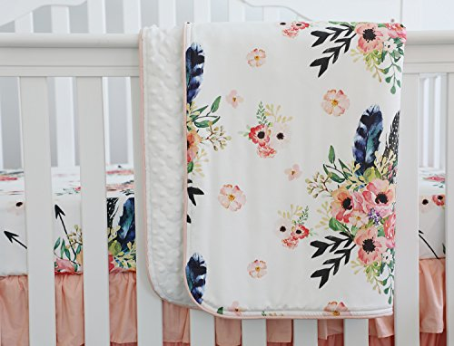 Boho Floral Baby Minky Blanket Baby Crib Comforter Toddle Quilt 34x42inch (Feather Floral) (Quilt Coral Nursery)