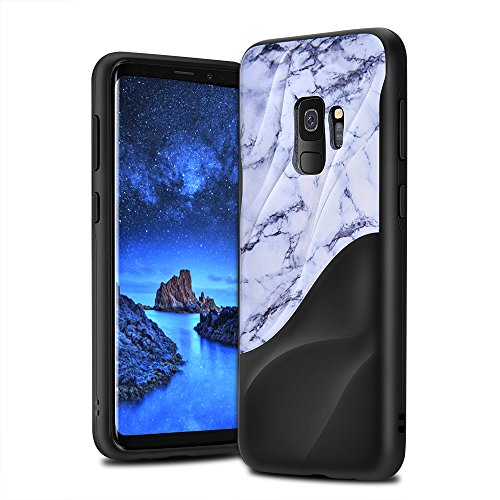 Galaxy S9 Case Marble 3D Textured Wave Design EMORCO Dual Layer Heavy Duty Soft Silicone TPU & Hard Back Cover Protective Shock Proof Anti-Scratch Case for Samsung Galaxy S9 White Marble Pattern