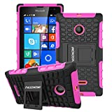 Lumia 435 Case, Pasonomi® Heavy Duty Hybrid Armor Case Cover with Soft Inner Skin and Kickstand For Microsoft Nokia Lumia 435 (Armor Series Hot Pink)