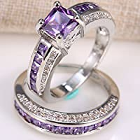 2.5ct Amethyst 925 Silver Women Wedding Gift Engagement Ring Set 2pcs Size 6-12 (11)
