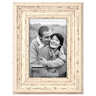 Malden Distressed Wood Picture Frame, 4 by 6-Inch, Off-White