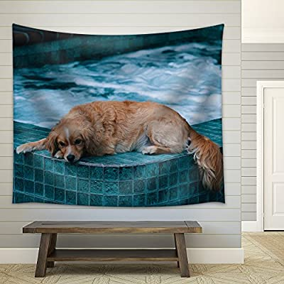 Dog Lying on The Edge of a Bath Pool Fabric Wall, Top Quality Design, Charming Piece