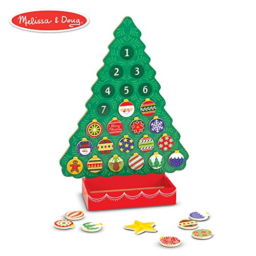 Melissa & Doug Countdown to Christmas Wooden Advent Calendar (Seasonal & Religious, Magnetic Tree, 25 Magnets)]()