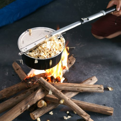 Open fire popcorn popper used on a campfire.