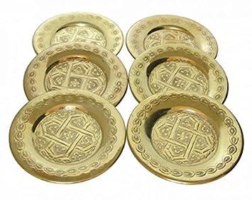 6 X Orientalische Untersetzer Fur Teeglaser Gold Amazon De Kuche