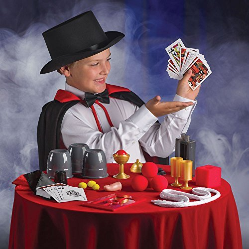 FAO Schwarz 1002765 300 Trick Premium Magic Trick Set Includes Card Deck, Coin Tricks, Handkerchiefs, Fake Finger and More, Multicolor, Pack of 28
