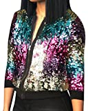 SYTX Womens Hip Hop Sequins Front-Zip Stand Collar Short Bomber Jacket 1 XL