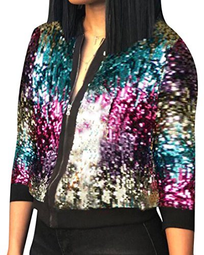 (LD Womens Classic Front-Zip Sequins Stand Collar Short Bomber Jacket 1 L)