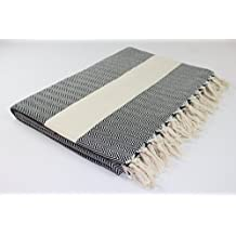 Paramus AUTHENTIC Turkish Herringbone Blanket Throw Bedspread Coverlet Soft Cozy 100% Turkish Cotton Beach Picnic Blanket Handwoven MADE in TURKEY Luxurious Great as Gift BEST QUALITY (black)
