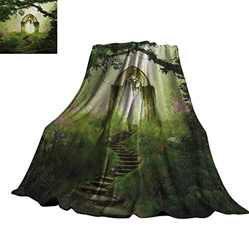 "RenteriaDecor Antique,Plush Blanket Old Aged Fantasy Gate in Forest Ancient Medieval Gothic Greenery Digital Art Lightweight Plush Throws 90""x70"""