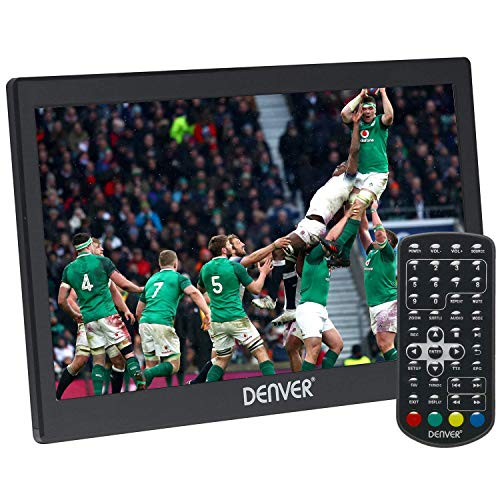 Denver LED-1032 10″ Small Portable TV with Freeview & HDMI IN | 12 Volt TV for Motorhome, Caravan, Car and Camping | Kitchen TV | Built-In Rechargeable Battery, Car Power or Mains Power