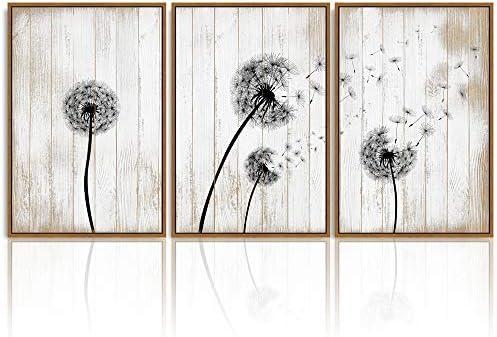 SIGNWIN 3 Piece Framed Canvas Wall Art Dandelion on Wood Background Canvas Prints Home Artwork Decoration
