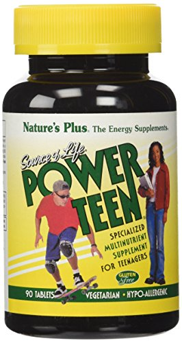 Natures Plus Source of Life Power Teen - 90 Vegetarian Tablets - Teen Multivitamin with Minerals & Whole Foods for Mental Focus, Energy Booster - Gluten Free - 45 Servings