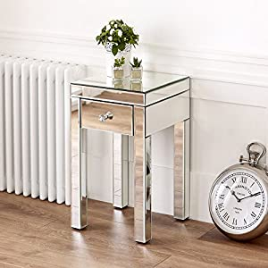Venetian Mirrored Small 1 Drawer Lamp Table