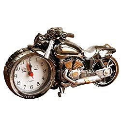 WiseHome Alarm Clock Vintage Retro Motorcycle Style Students Table Desk Time Clock Cool Motorbike Model Home Office Shelf Decoration Novelty Birthday