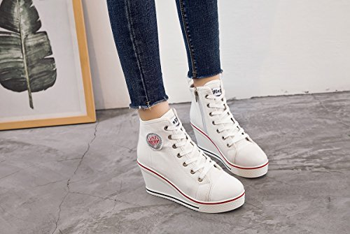 Smilety Canvas Heeled Women's Wedges High 2 Shoes Pump Fashion Lace UP White Shoes Sneaker rgrxqR