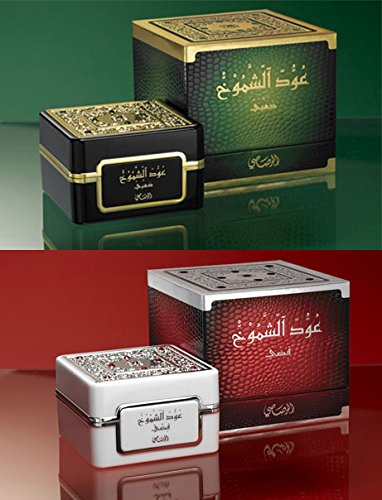 Oudh Al Shomoukh Bakhoor by Rasasi - Gold or Silver versions - 35g - Agarwood Bukhoor Incense in premium gift box (Gold & Silver)