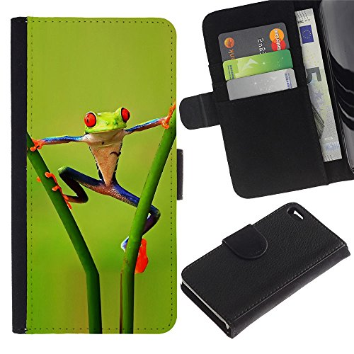 OMEGA Case / Apple Iphone 4 / 4S / Funny Aerobatics Jungle Frog / Cuir PU Portefeuille Coverture Shell Armure Coque Coq Cas Etui Housse Case Cover Wallet Credit Card