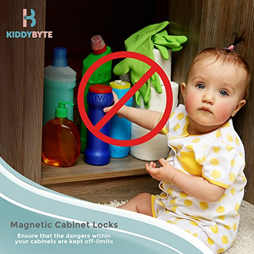 Magnetic Child Safety Cabinet Locks - 20 Lock + 3 Key for Baby Proofing Cabinets, Drawers and Locking Cupboard, Easy Install for Toddler and Childproof with Adhesive Latch, No Tools or Drill by KiddyByte (Image #6)
