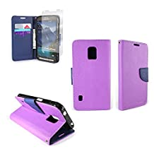 CoverON® for Samsung Galaxy S5 Active (Will Not Fit Other S5 Models) Wallet Case [CarryAll Series] Flip Credit Card Phone Cover Pouch with Screen Protector and Wristlet Strap - (Purple / Navy Blue)
