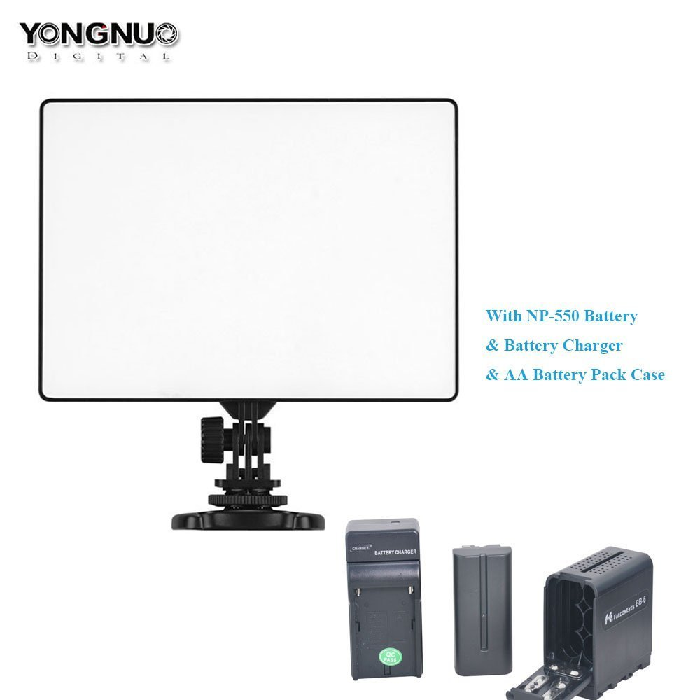 Yongnuo YN300 Air LED Video Light Ultra Slim Continuous Photography Panel + NP-F Battery + Battery Charger + AA Battery Pack Case Replace of NPF Battery for Studio Vlog YouTube Canon Nikon Sony GoPro