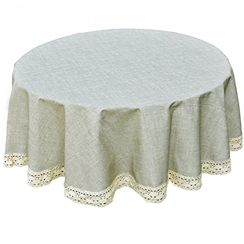 Pvc Tablecloth Fabric (DARUITE Round Tablecloth Heavy Weight Vinyl Rectangle Tablecloth Oil-proof/Waterproof Stain-resistant/Mildew-proof Great for Buffet Table, Parties, BBQ's, Wedding&More (Linen,61