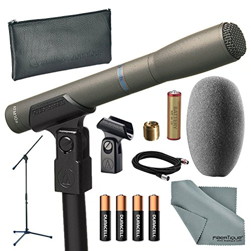 (Audio-Technica AT8010 Omni-Directional Instrument Condenser Microphone and Bundle with Microphone Stand + Batteries + Cable + Fibertique Cloth)