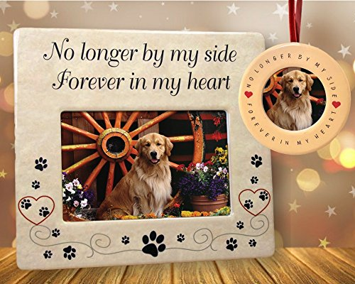 (BANBERRY DESIGNS Pet Memorial Frame and Ornament - No Longer by My Side - 4