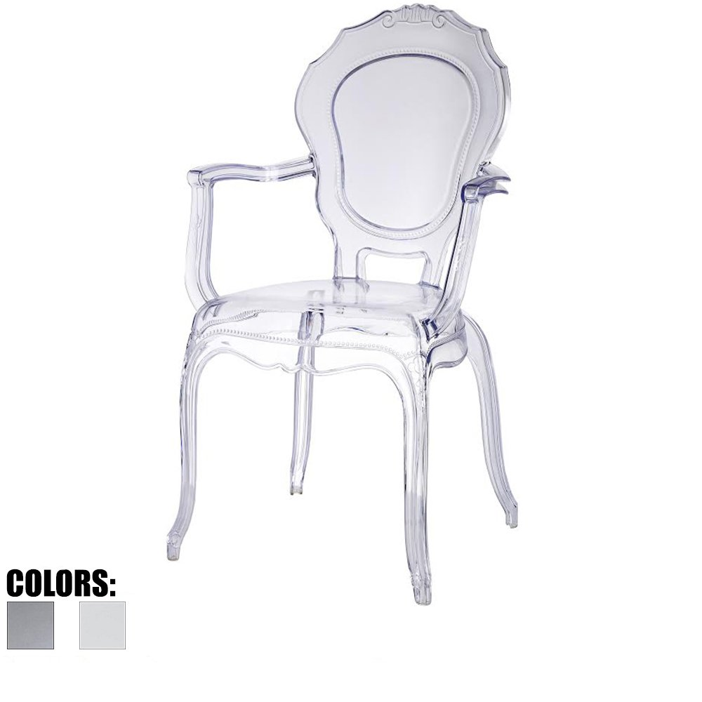 2xhome - Belle Style Ghost Chair Ghost Armchair Dining Room Chair - Clear Armchair Lounge Chair Seat Higher Fine