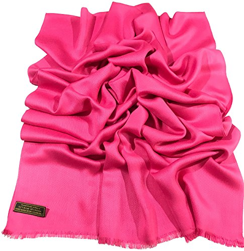 Hot Pink Solid Color Design Fringe Shawl Scarf Wrap Stole Pashmina CJ Apparel (Hot Pink Cowl)