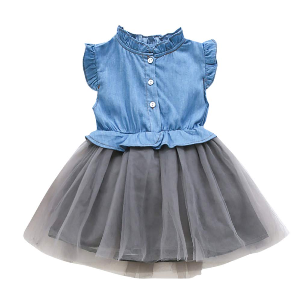 Toddler Dresses,Toddler Baby Girls Denim Dress Sleeveless Princess Tutu Dress Cowboy Clothes,Baby Clothing,4T Light Blue