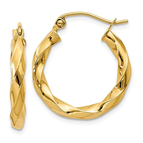 14k Yellow Gold 3mm Twisted Hoop Earrings Ear Hoops Set Fine Jewelry Gifts For Women For Her ()