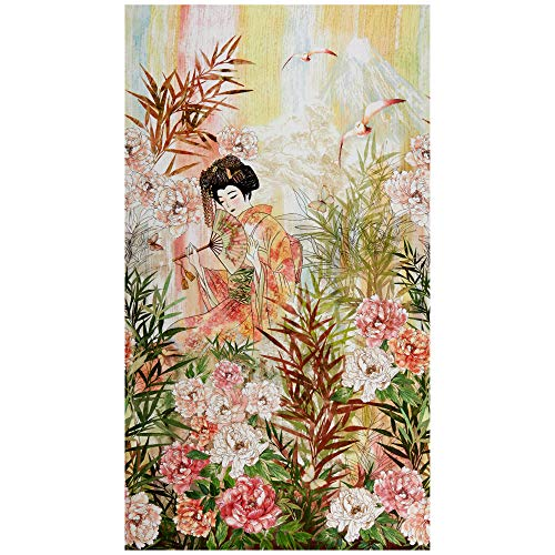 (Timeless Treasures Digital Peony Dance 24in Geisha Panel Peony Fabric)