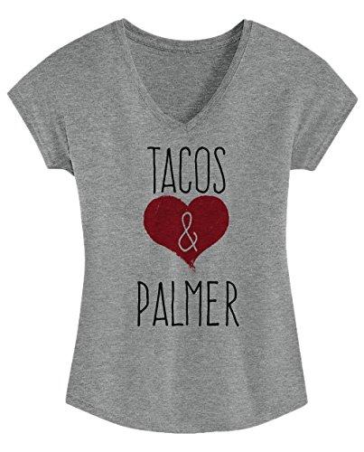 I Love Tacos & Palmer - Cute, Stylish Ladies' Triblend V-neck