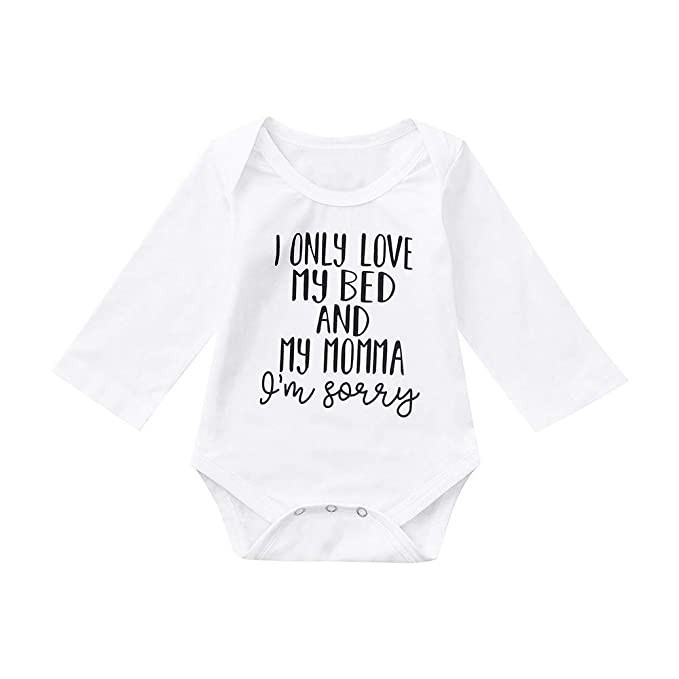 48cc671ff0 Deloito Unisex Baby Rompers, Newborn Infant Baby Kids Girls Boy Letter Print  Romper Jumpsuit Outfits Sunsuit Clothes Playsuits Outfits Bodysuit: ...