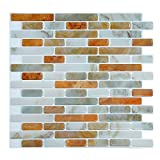 Fertel 10.5'' x 10'' Peel and Stick Tile Kitchen Backsplash Sticker White Strip, Pack of 6
