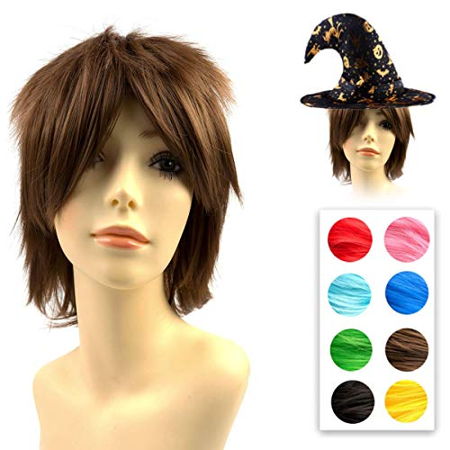 Short Brown Halloween Wig (Modernfairy Anime Wig Light Brown for Cosplay Halloween Party, Synthetic Layered Short Hair Wigs with Bangs, Pastel Wigs for Women Girls Men)
