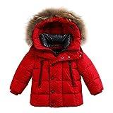 marc janie Baby Boys Kids' Lightweight Down Jacket With Raccoon Fur Collar Hood Puffer Winter Coat Deep Red 8T
