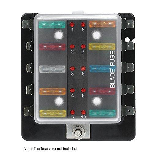 KKmoon DC 12V 10 Way Blade Fuse Box Holder with LED Warning Light Kit for Car Boat Marine Trike