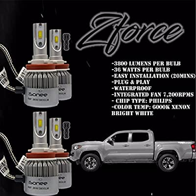 Zforce Low Beam+Fog Lights H11 & H11 All-in-one Combo 6000K Xenon White for 2016 Toyota Tacoma TRD R6 Philips LED Headlight Conversion Kit 36W 3800Lm Bulbs 5-Year Warranty