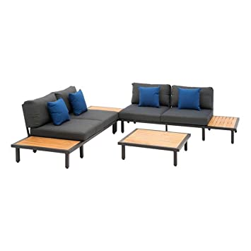 Loungemöbel Outdoor Samantha Loungeecke 4 Teilig Aluminium/Teak Gartenmöbel  Design Gartenlounge Modern