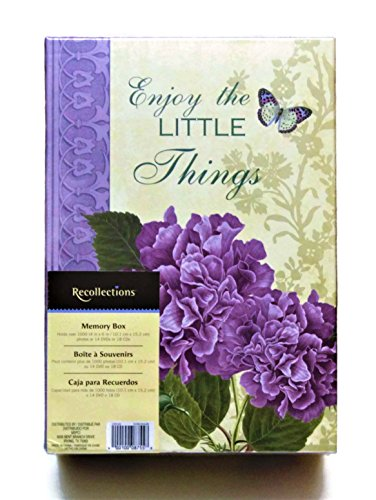 Jumbo Hydrangea - Recollections Photo Storage Memory Box Documents Crafts Recipe Cards Letters DIY Project Organizer Purple Hydrangeas Flower Design Enjoy the Little Things Theme with Free 10 Self-Tab Blank Index Cards