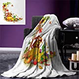 Kids Thanksgiving Throw Blanket Autumn Harvest Theme Various Foods from Country Garden Agriculture Warm Microfiber All Season Blanket Bed Couch 50''x30'' Multicolor