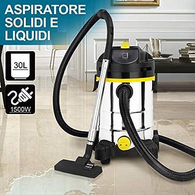 bakaji Aspiradora Profesional líquidos y sólidos potencia 1500 W aspirador de mano aspiraliquidi con filtro Interior Tubo aspirante Flexible y cubo Acero inoxidable capacidad Metro Cuadrado: Amazon.es: Hogar