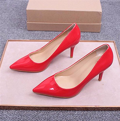 KHSKX-Tipp Feine Mit High Heels Hochzeit Schuhe Einzelne Schuhe Frauen Angesichts Der Frauen Schuhe Braut Mädchen Rot 34